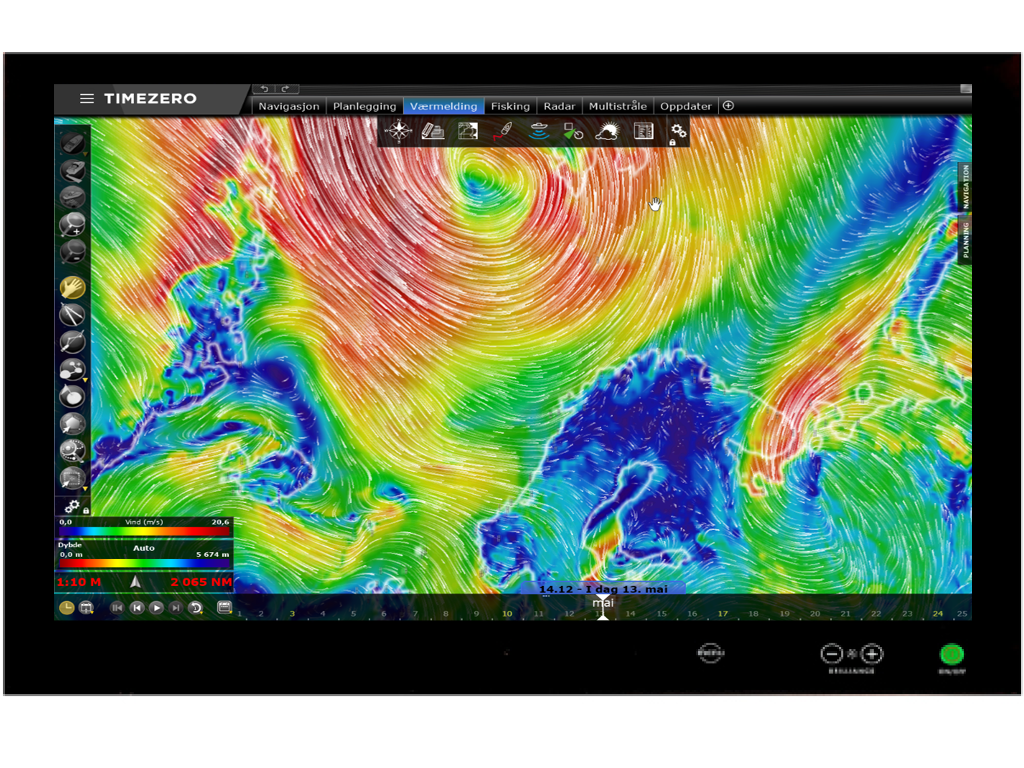 Kartplotter_TimeZero_værprognose_værmelding_uvær_Furuno